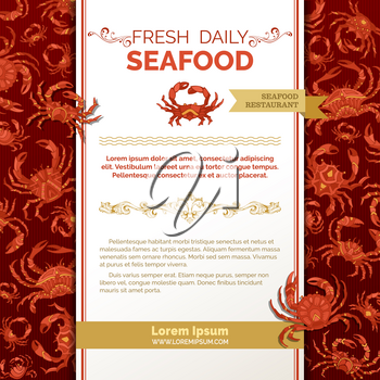 Seafood menu template. There is place on white paper for your text.