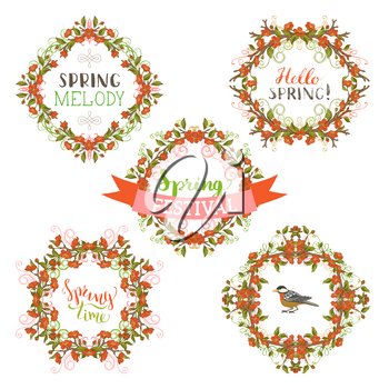 Red flowers and leaves on tree branches. Hand-drawn seasonal lettering and flourishes. There is copyspace for your text.
