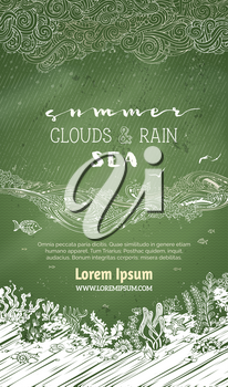 Clouds and rain, waves and underwater life on green blackboard background. There is copy space for your text in the sky and undersea.