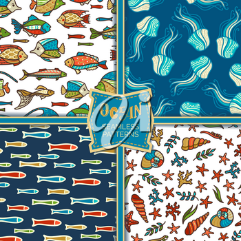 Cartoon fish, jellyfish, starfish, shells and plants. Boundless background can be used for web page backgrounds, wallpapers, wrapping papers and invitations.