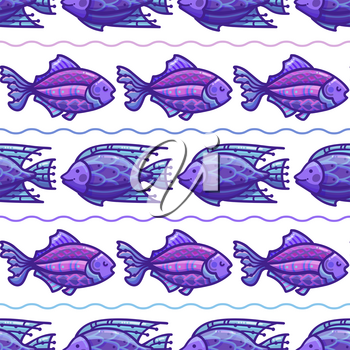 Cartoon fish on white background. Boundless background can be used for web page backgrounds, wallpapers, wrapping papers and invitations.