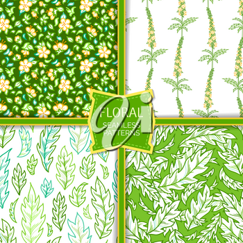 Tiny yellow flowers and green pinnate leaves on white and green backgrounds. Bright spring and summer boundless backgrounds. Outline tileable design elements.