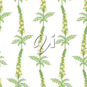 Tiny yellow flowers and green pinnate leaves on white background. Bright spring and summer boundless backgrounds. Tileable design elements.