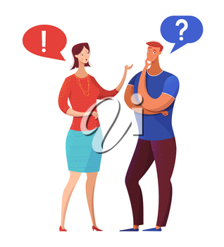 Couple having argument flat vector illustration. Husband, wife discussing problems, complaints cartoon characters. Female boss instructing male employee. Speech bubbles with question, exclamation mark