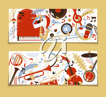Musical instruments flat vector backgrounds set. Grand piano, trumpet, flute doodle drawing. Trumpet, violin, drums illustration. Record, microphone, french horn retro style backdrops pack