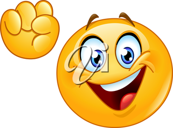 Emoticon making power to the people fist hand up gesture.