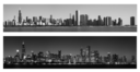Chicago Skyline at Day and Night in monocrhome