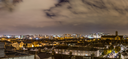 Panorama of Dublin quays skyline and docklands seen from above