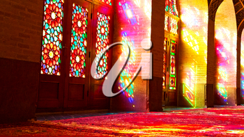 in iran blur colors from the windows the old mosque traditional scenic light