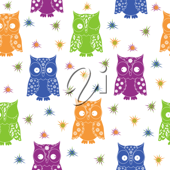 Colourful owl and stars seamless pattern with lace ornamental bodies and without contour lines, hand drawing cartoon vector illustration