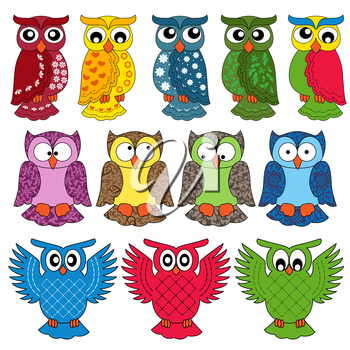 Set of eleven colourful vector owls isolated on white background