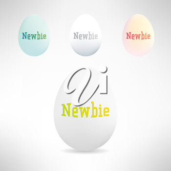 Realistic egg with newbie text on it. Beginner concept. Vector Illustration