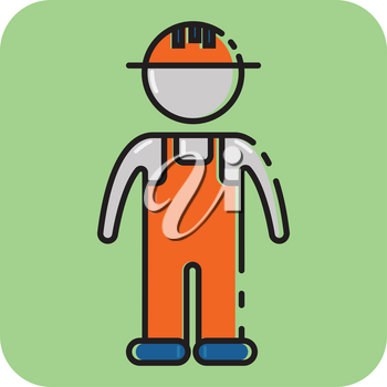 Simple flat color construction worker icon vector