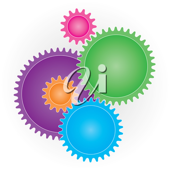 Connection Gears ( Cog wheels ) symbol on white background. Teamwork or preference concept symbol. Vector EPS10.