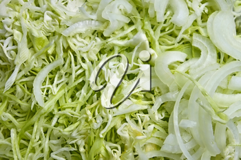 Finely chopped cabbage and onions during cooking of salad