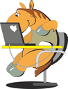 Royalty Free Clipart Image of a Horse on a Computer
