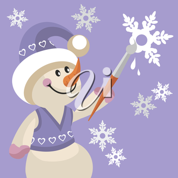 Royalty Free Clipart Image of a Snowman Painting