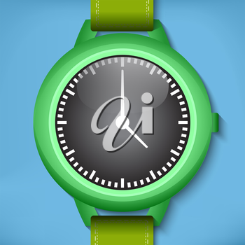 Green analog watches image with blue background
