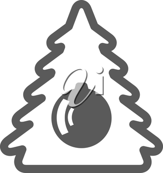 black new year pine tree icon on a white background