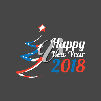 Happy New Year 2018 banner with usa flag on black background