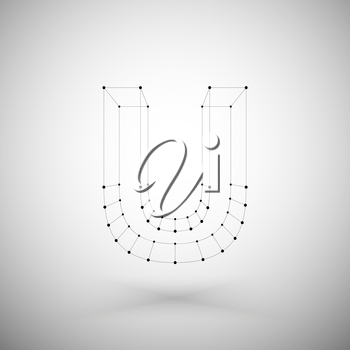 3d mesh stylish alphabet letter sign isolated on white background, single color clear  vector.