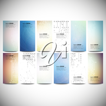 Big banners set, science backgrounds, microchip and electronics circuit backgrounds. Conceptual vector design templates. Modern abstract banner design, business design and website templates.
