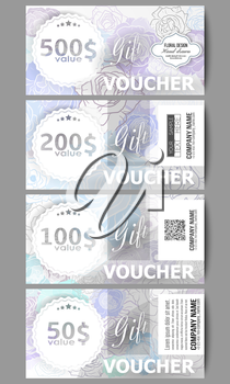 Set of modern gift voucher templates. Hand drawn floral doodle pattern, abstract vector background.