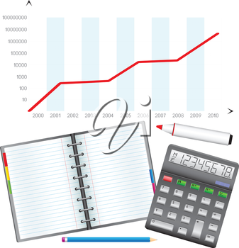 Business objects, the calculator, pencil, notebook, marker and schedule.