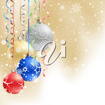 The multicolored christmas mesh baubles and ribbons on the light mesh background