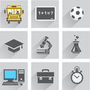 The school icon set with shadow on the gray and white background
