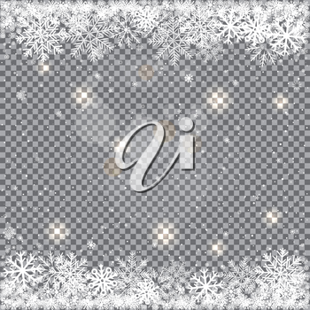 Winter falling snow. Snowflake closeup and light reflect effect isolated on transparent backdrop. Christmas and New Year snowfall template