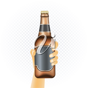 Small beer bottle template hold up in hand isolated on white transparent background. Can of drink show concept with water condensate