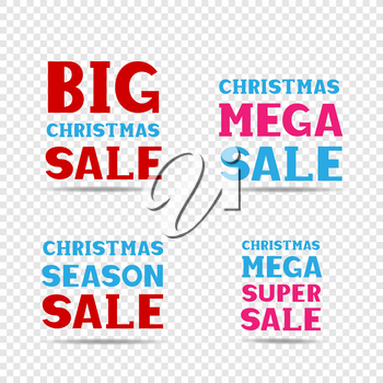 Christmas red pink and blue big mega super season sale message label set on transparent background. Business communication dialog or quote template collection sign.
