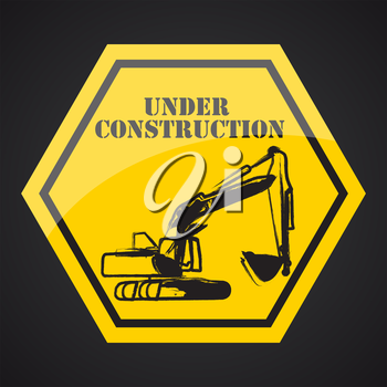 Under Construction on Black BackgroundVector Illustration Eps10