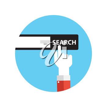 Line Icon with Flat Graphics Element of Search Button Vector Illustration EPS10