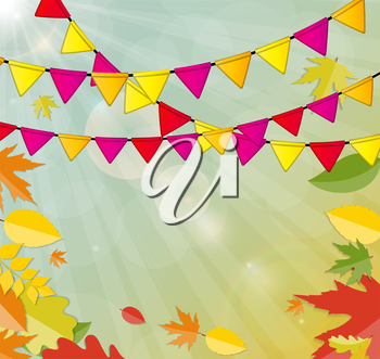 Shiny Autumn Natural Leaves Background. Vector Illustration. EPS10