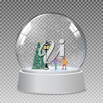Snow glass globe with children skate  in winter for Christmas and New Year gift.Vector Illustration EPS10