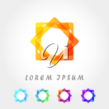 Rectangle with rounded corners geometric logo template, mosaic concept, 3d vector on gradient background, eps 10