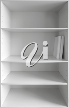 White cabinet with empty shelves and two books