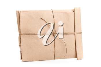 Closed envelope tied with a rope isolated on white background