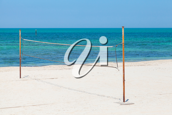 Net for beach volleyball on the sea coast