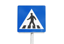 Pedestrian crossing. Square blue and white road sign with walking man isolated on white background