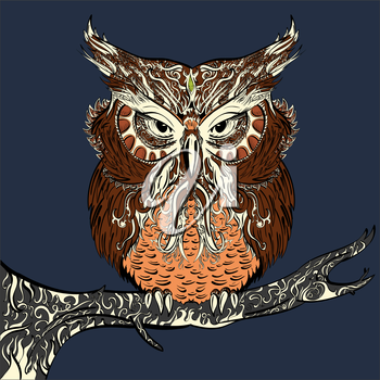 Vector stylised hand drawn owl decorated with vintage ornament