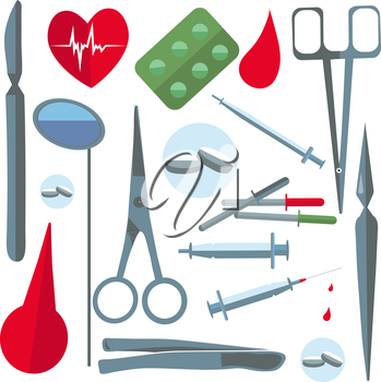 Set isolated medical instruments and drugs in a flat style for web and mobile applications. Tablets, syringes, scalpels, scissors. Vector illustrations