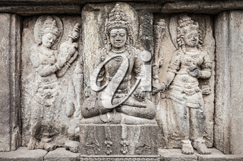 Relief panel of Prambanan Temple, Central Java in Indonesia