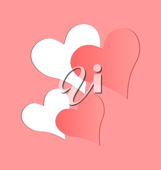 Two hearts cutted in pink paper