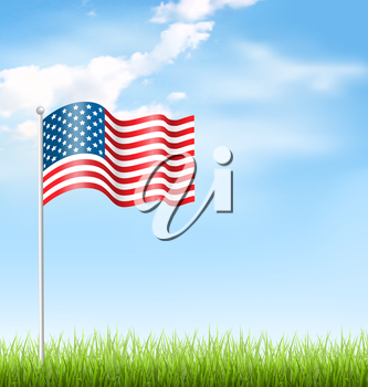 Wavy USA national flag with grass and clouds on sky background