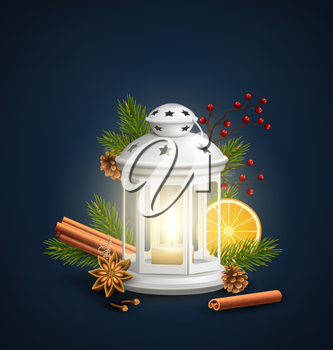 Christmas Lantern with Spices on Dark Blue Background