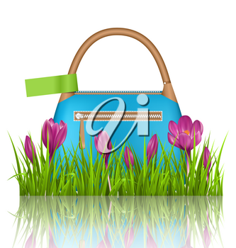 Blue woman spring bag with crocuses flowers and green label in grass lawn with reflection on white background