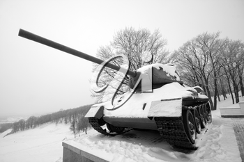 Old frozen russian WWII tank T-34 in memorial